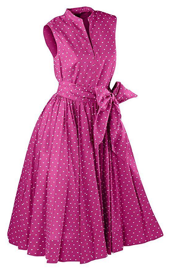 1950s pink polka dots summer party dress