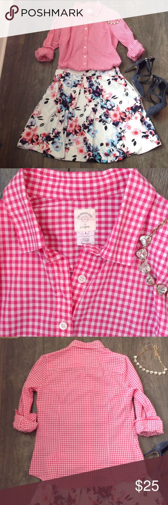 The Perfect Shirt by J. Crew in hot pink gingham EUC, soft and lightweight, 100% cotton J. Crew Tops Button Down Shirts