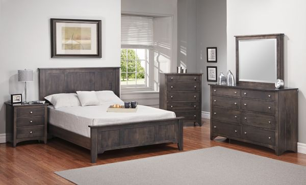 shaker bedroom set in slate grey stain by Handstone