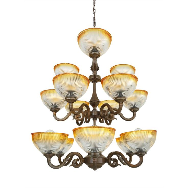 The Tawau three-tier chandelier is a traditional chandelier ideal for traditional-themed restaurants, hotels and pubs. The chandelier has three tiers of swirling arms to which amber rimmed Holophane uplighter glass shades are attached.