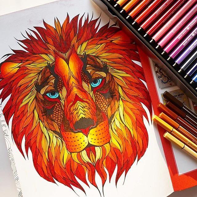 ROAR!  Dieses löwenstarke Bild ist von @biichette_  #stabilo #stabiloart #pen68 #filzstifte #stifte #löwe #lionking #malen #zeichnen #vollderbrüller