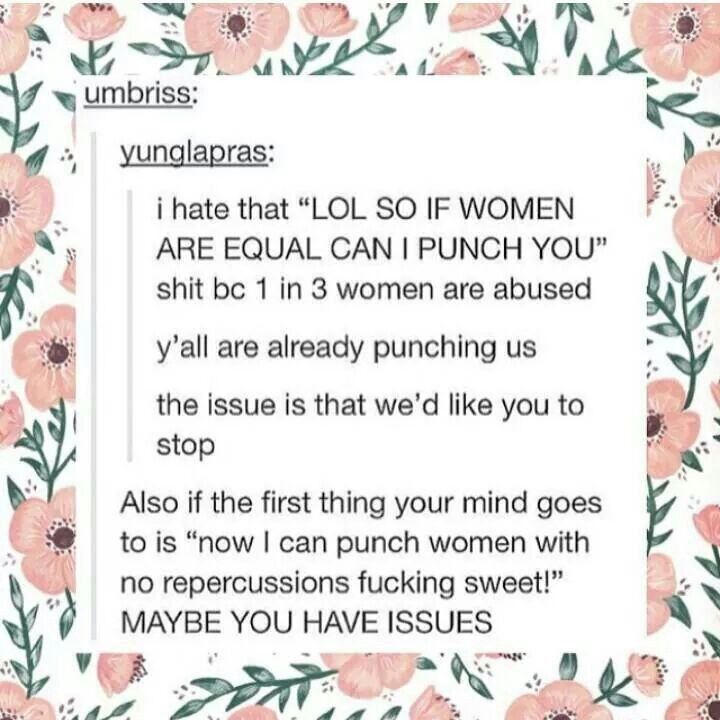 Was the idea that women are not equal to men and are weak and all that bull the only thing keeping you from punching women for the heck of it?