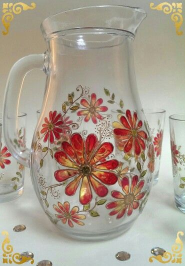 Glass pitcher | Hand made painted on glass | Hand painted stained glass.