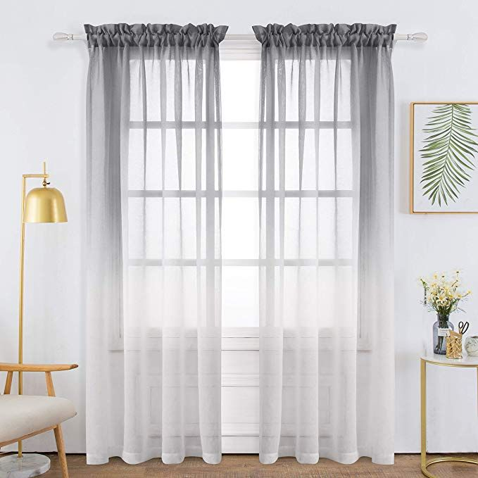 Bermino Faux Linen Sheer Curtains Voile Rod Pocket Ombre Semi