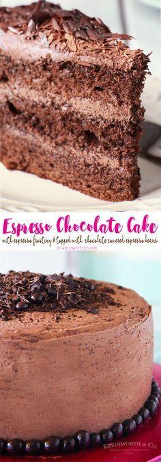 Espresso Chocolate Cake with espresso frosting is topped with chocolate shavings & chocolate covered espresso beans. Perfect for birthdays! via @KleinworthCo