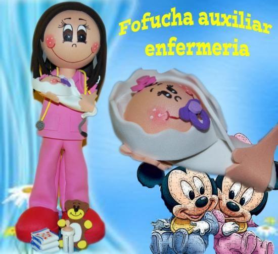 fofucha auxiliar enfermeria  goma eva,silicona foamy 3d