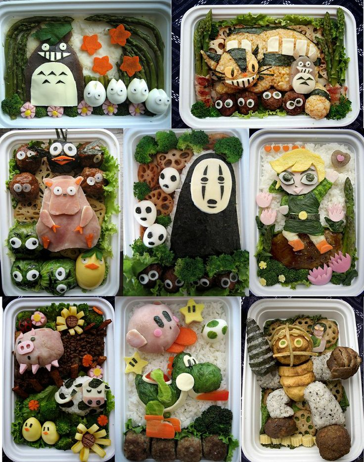 BENTOS Art, Benton = Lunch Box in Japanese, Kids, Papa, working ladies need to bring Bento everyday, so Japanese housewives all know how to make a bento!