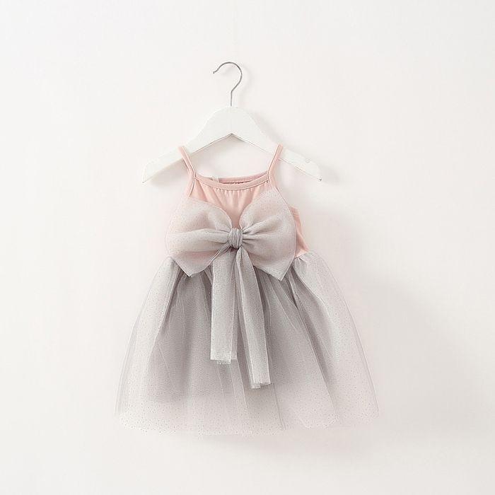 2016 summer hot sale baby girl dress new fashion baby girls clothes kids big bow dress Mesh dress girls clothing retail