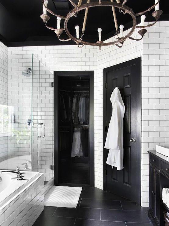Man Bath - black and white bathroom, black door, black bathroom door, black vanity, black sink vanity, white vessel sink, masculine bathroom