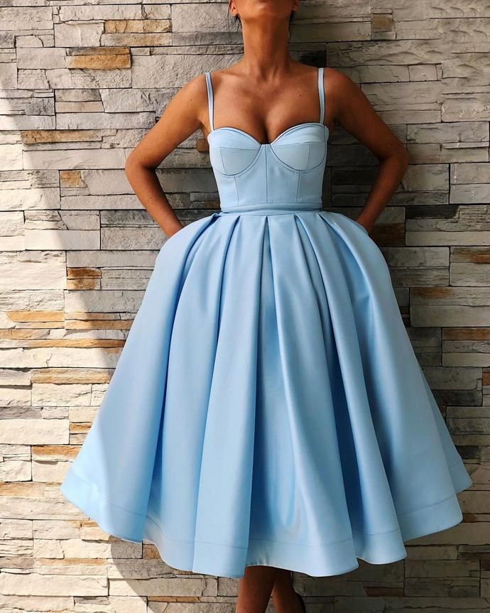 Cute Sweetheart Satin Short Prom Dress Tea Length Ball Gown Party Dresses with Spaghetti Straps