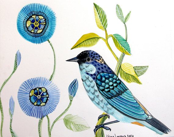 Blue Starling Original Watercolor Art for your por sublimecolors, $34.99