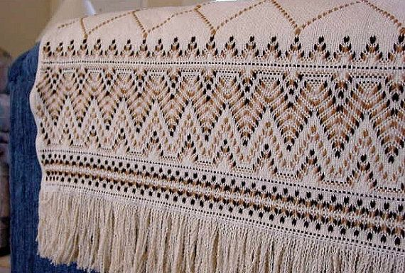 Swedish Weaving Afghan - Browns on Natural Tan