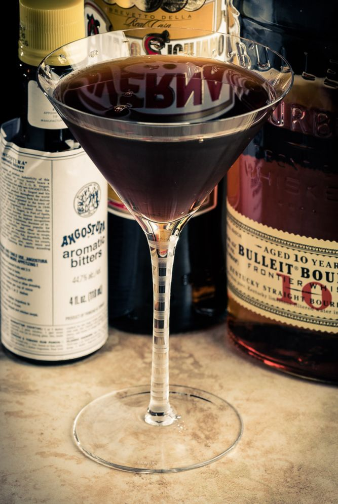 The Black Manhattan 2 oz bourbon or rye whiskey (Buffalo Trace, Bulleit 10) 1 oz Averna 1–2 dashes Angostura bitters Stir all ingredients with ice until cold; strain into a well-chilled cocktail stem. Garnish with a brandied cherry.