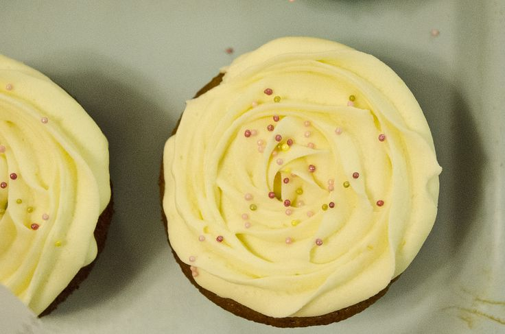 Blueberrie cupcake with lemon frosting.