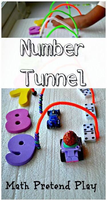 Use simple supplies to create a number tunnel. Fine motor skills, hands on math and at the end a fun DIY play set for pretend play with cars and other small toys #mathactivitiesforkids