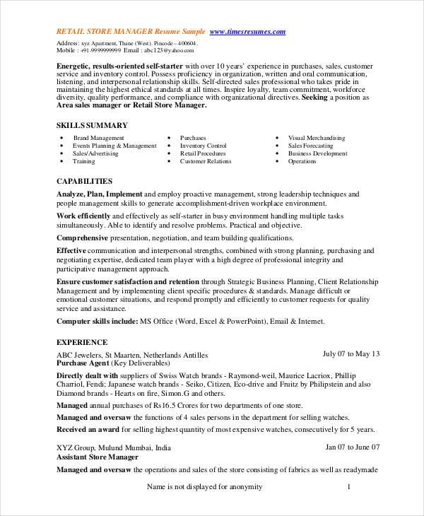 Store manager resume 9 free pdf word documents for Sample