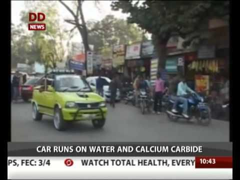 Man from Madhya Pradesh develops car that runs on water and calcium carbide. | The car runs on acetylene gas, which is formed from a chemical reaction between calcium carbide and water. The gas is used for several industrial purposes in...