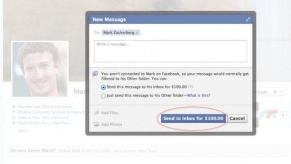 ¿Pagaría 100 dólares -$1 264.81 pesos al tipo de cambio de hoy- para enviar un mensaje a la Bandeja de Entrada de Zuckerberg? ¿Qué le diría?