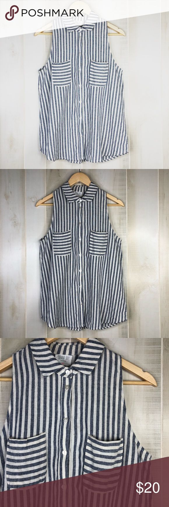 """Sienna Sky Button down Striped Sleeveless Shirt Excellent condition. Sienna Sky Button down Striped Sleeveless Shirt. Size M. Light blue and white color.  -Pit to pit 18"""" -Length 27""""  Two front pocket styling  You can wear this cute top with a pair of white jeans or skirt with some flats or some cute espadrilles.  #T0302SIENNASKYM Sienna Sky Tops Button Down Shirts"""