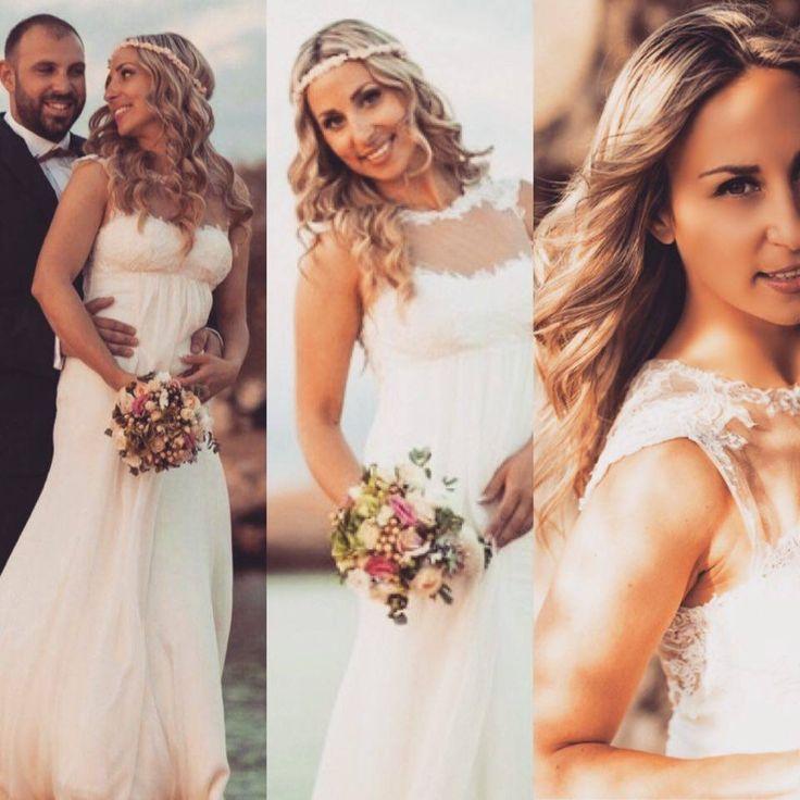 """Ρομαντικά αέρινα νυφικά: """"d.sign by Dimitris Katselis"""" Real bride . Νυφικό από μεταξωτή μουσελίνα και γαλλική δαντέλα απλικαρισμένη σε τούλι στο χρώμα του δέρματος.'Έμφαση στην πολύ ανοικτή πλάτη."""