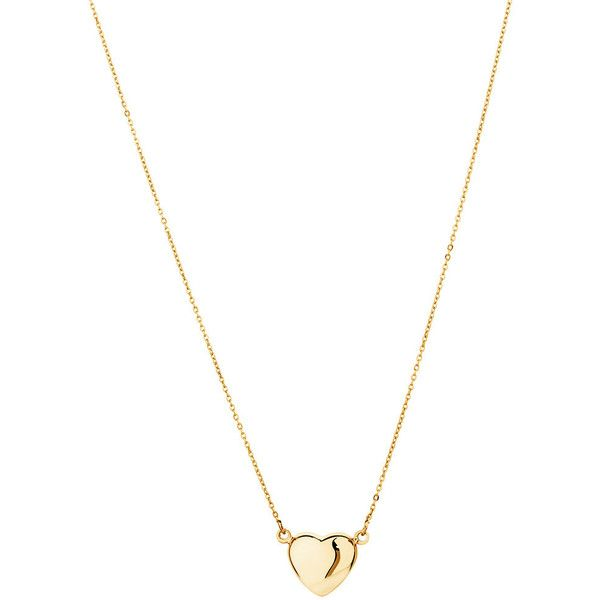 10ct Yellow Gold Mini Heart Necklace ($78) found on Polyvore featuring jewelry, necklaces, gold chain necklace, chain necklace, gold charms, gold jewelry and heart charms