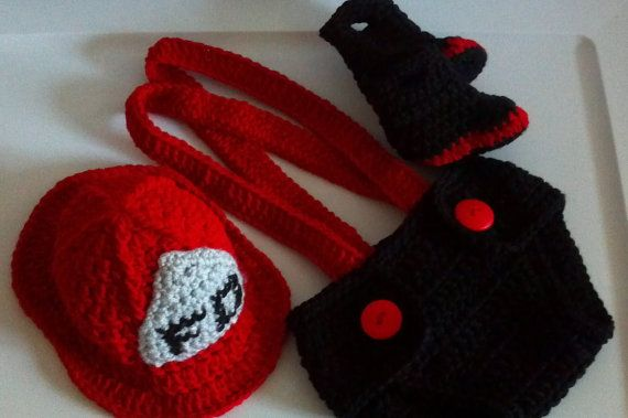 Fireman Hat diaper cover suspenders and boots by ExpertCraftss