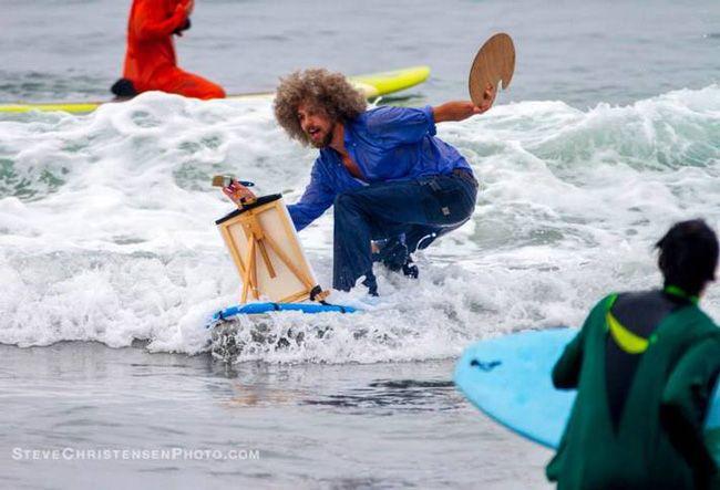 Bob Ross Costume Surfing