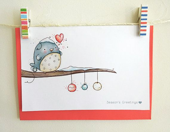 Unique and Cute Christmas Greeting Card With Whimsical And Beautiful Illustration - Set Of Personalized Greeting Card - Little Bird