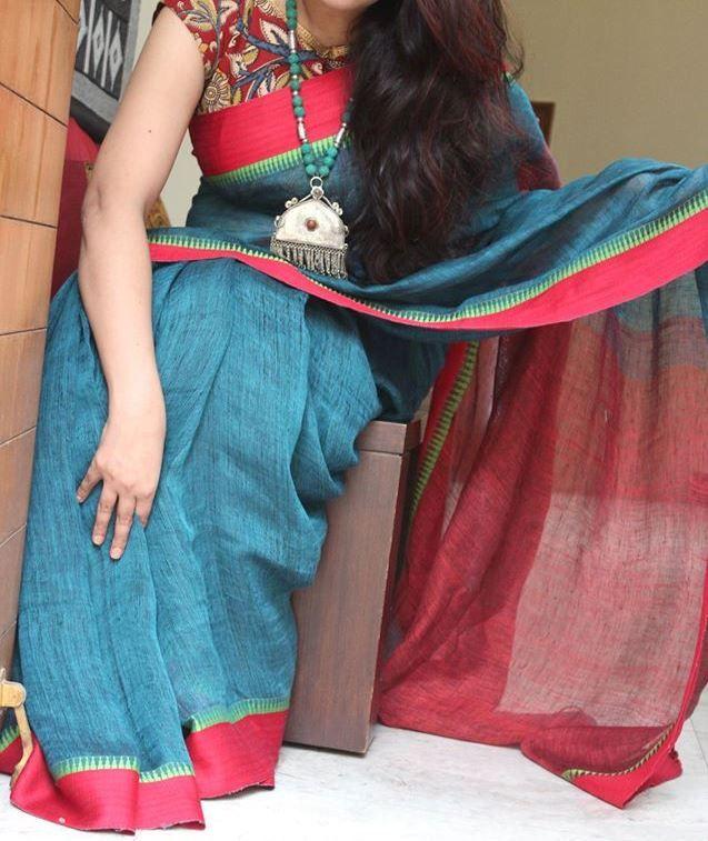 Alluring Peacock Bluish Green Pure Handloom Linen Saree