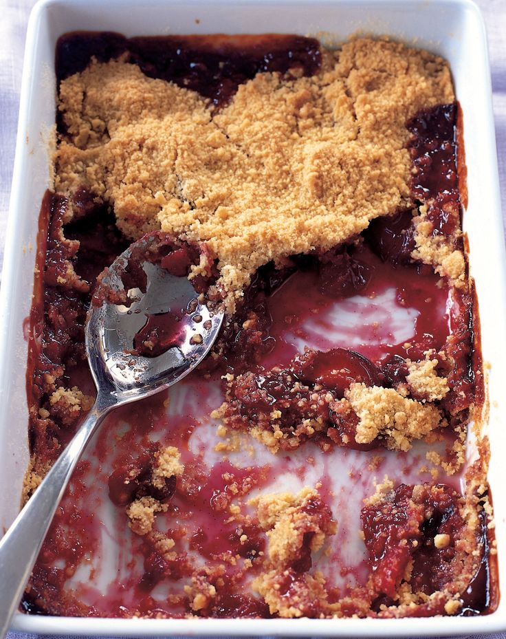 Spicy plum crumble recipe from Desserts by James Martin | Cooked