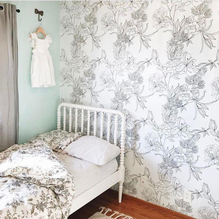 Sketch Floral Childrens Bedrooms Design Bedroom Design Bedroom Decor Childrens bedroom wallpaper b&q