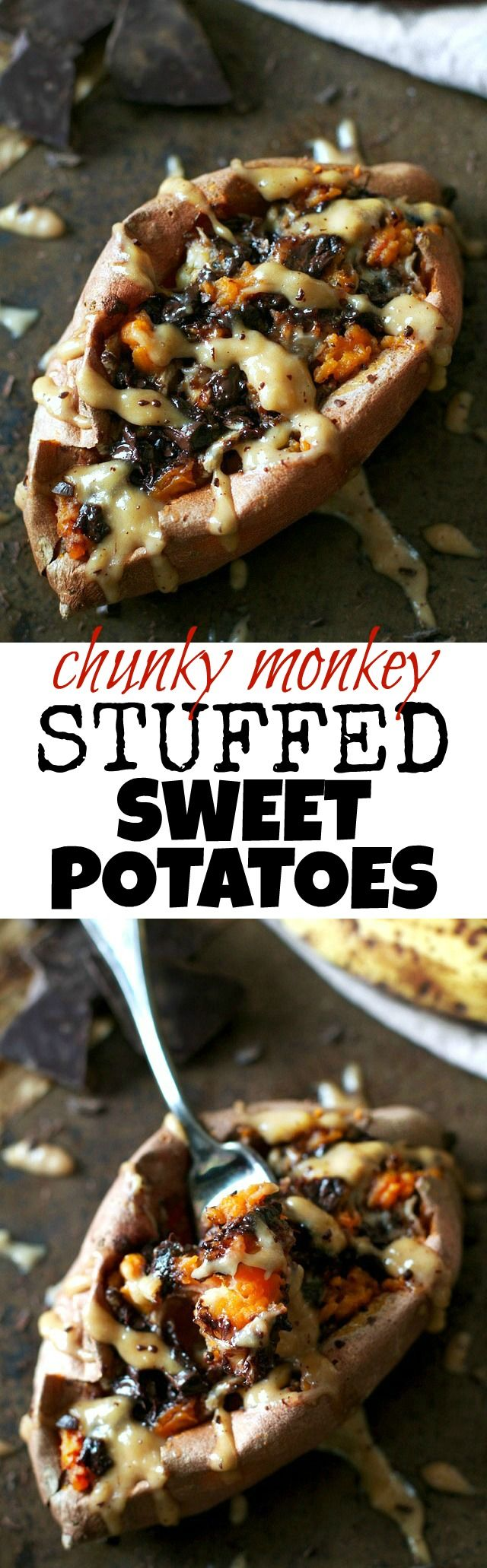 These Chunky Monkey Stuffed Sweet Potatoes are loaded with gooey caramelized bananas and melted dark chocolate before being topped with a creamy banana nut sauce. An irresistibly delicious gluten free and vegan treat! | runningwithspoons.com #recipe #healthy #sweetpotatoes #vegan