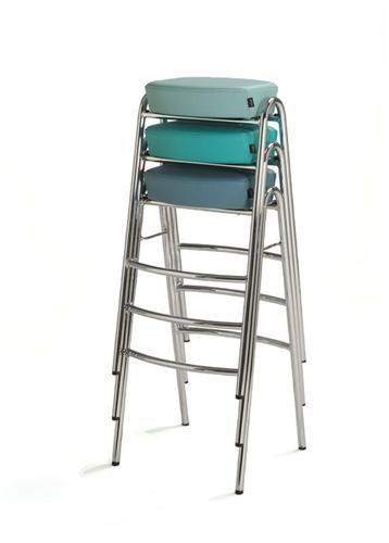 Frame in chrome or powder coating. Upholstery in standard or c.o.m. Height: 81 cm  Width: 42 cm  Depth: 40 cm  Seat hight: 81 cm http://www.mitab.se/