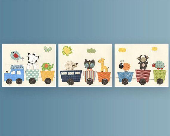 Baby Nursery Art Set of 3 prints: Baby Room Nursery Art Print - Choo Choo Train, Owl, Elephant, Giraffe And Other Baby Room Cute Friends