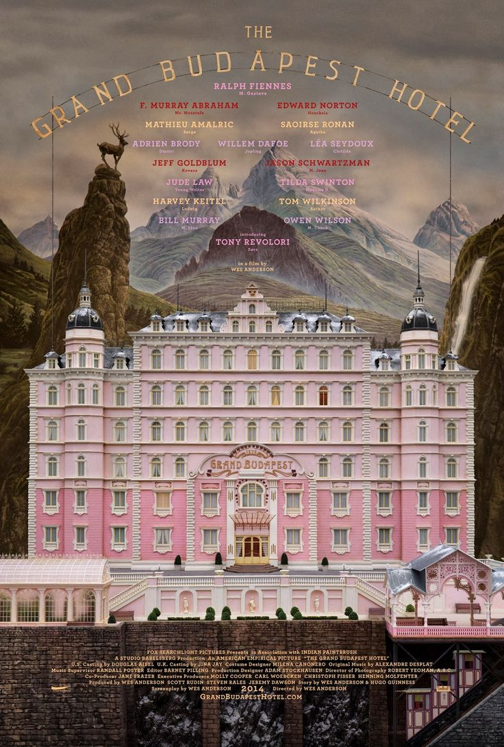 Wes Anderson's The Grand Budapest Hotel with Bill Murray, Edward Norton, and Ralph Fiennes.