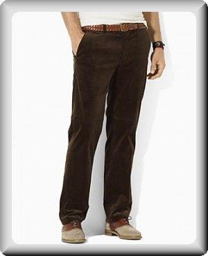 Ralph Lauren Men's Brown Corduroy Uniform Preppy Flat-Front ...