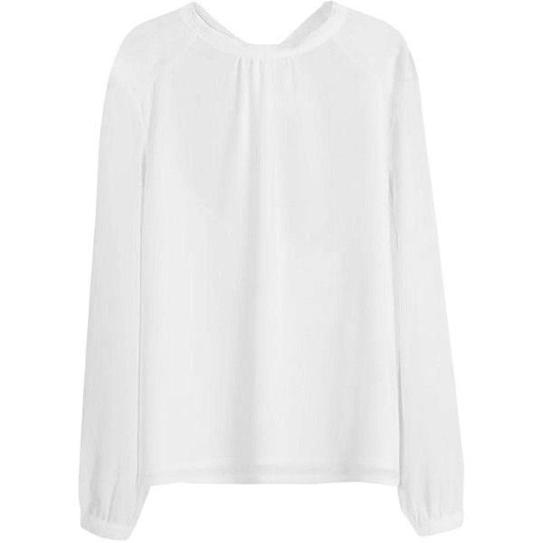 Yoins Yoins White Chiffon Blouse (70 BRL) ❤ liked on Polyvore featuring tops, blouses, shirts & blouses, white, white chiffon top, white chiffon shirt, white top, party blouses and white open back shirt