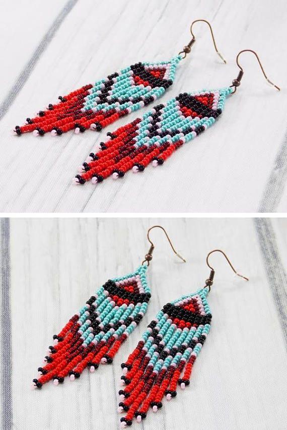 Dark Party Fashion Artisan Dangle Beaded Earrings Black Bohemian Earrings of Seed Beads Cute Tiny Dainty Fringe Earrings For Women Gift
