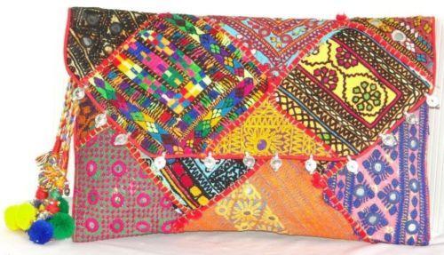 Vintage Clutch Banjara Embroidery Ethnic Patchwork Handmade Mirror Tribal Bag | eBay