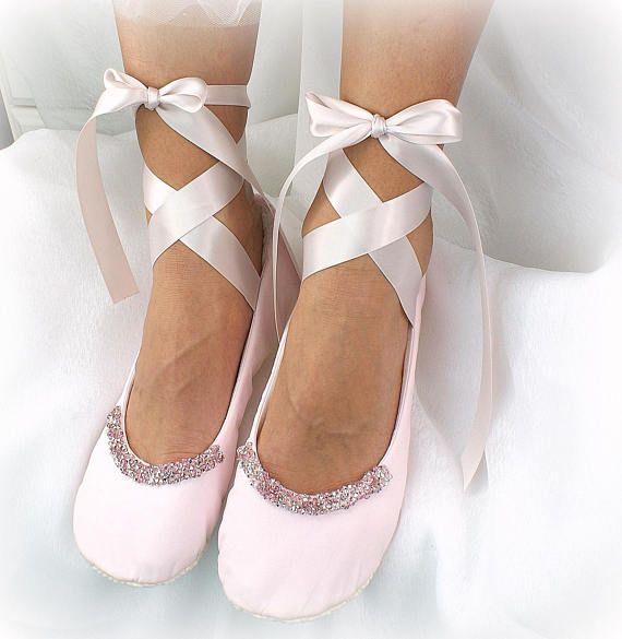 Light Pink Wedding Ballet Flats Shoes Beaded With Rhinestones Wedding Ballet Flats Bridal Ballet Flats Lace Ballet Flats