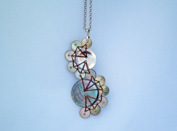 Dark Mother of Pearl Button Pendant Necklace The by P8ButtonArt, €18.00