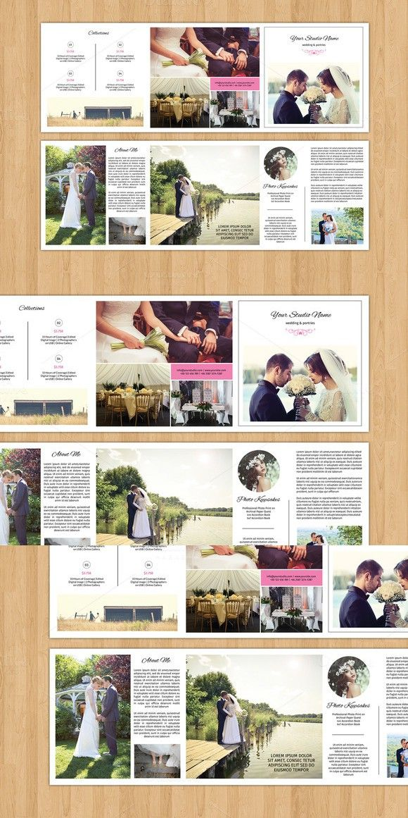Square Trifold Wedding Brochure-V481. Brochure Templates. $9.00