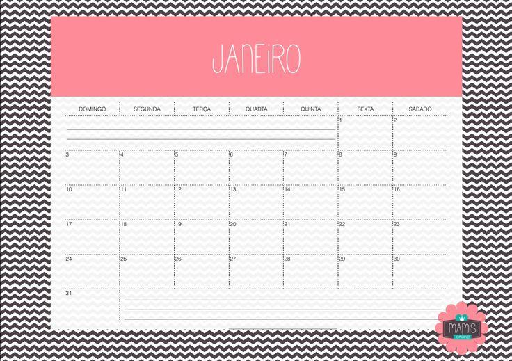 Calendário mensal completo 2016, com feriados nacionais marcados. Só imprimir e se organizar.