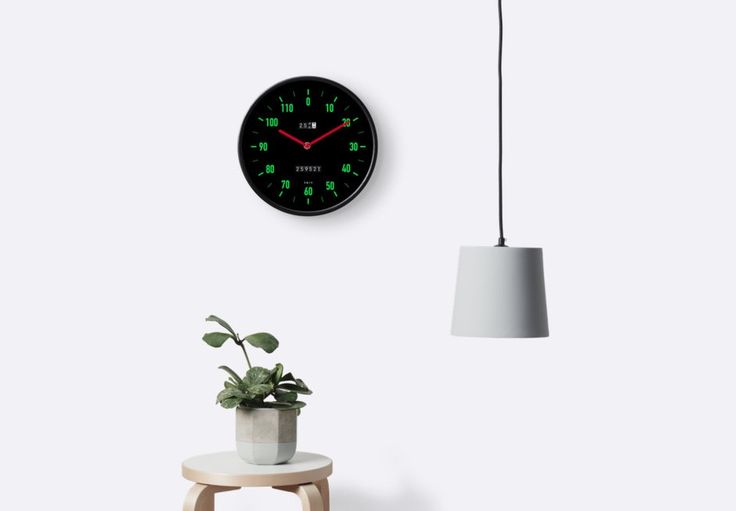 Classic car speedometer look a like wall clock. Black background with green marks.   http://shrsl.com/?gcb2  #clock #wallclock #speedometer #car #instrumentpanel #meter #retro #80s #redbubble