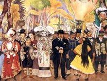 ディエゴ・リベラの壁画「日曜日の午後のアラメダ公園における夢」