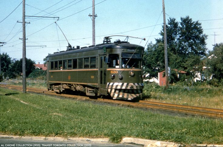 NS&T 19550720-01 Niagara St. Catharines & Toronto car #620 heads towards Thorold, Ontario on July 20, 1955. Al Chione Collection