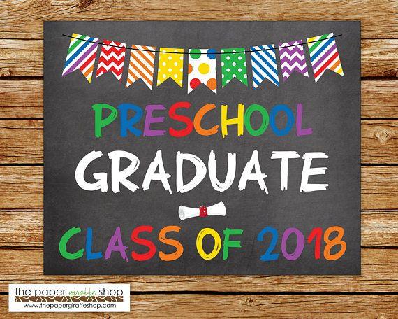 Preschool Graduation Sign Printable Chalkboard Graduation Sign For