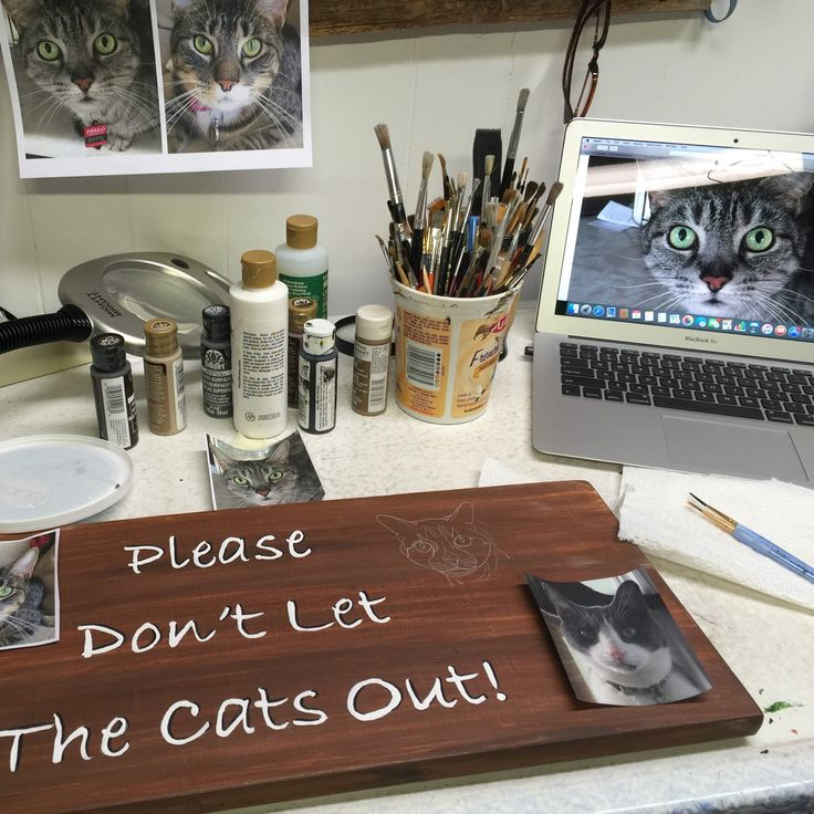 The starting of a custom pet portrait sign.