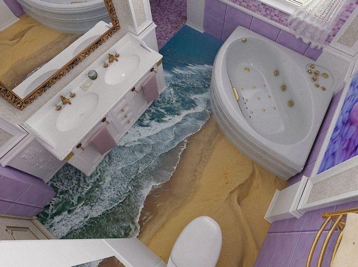 Наливные полы 3Д (60 фото, цены): эффектное покрытие в вашем доме http://happymodern.ru/nalivnye-poly-3d-60-foto-ceny-effektnoe-pokrytie-v-vashem-dome/ Пол в ванной комнате с имитацией морского прибоя Смотри больше http://happymodern.ru/nalivnye-poly-3d-60-foto-ceny-effektnoe-pokrytie-v-vashem-dome/