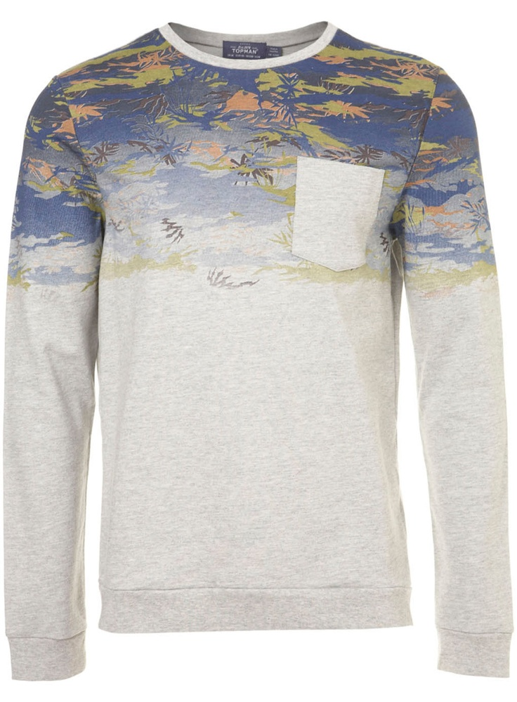Blue/Grey Camo Print Sweatshirt - View All - New In - TOPMAN